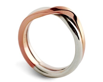 LOVE KNOT White and Rose gold wedding band, unique wedding ring, alternative mens womens wedding ring, two tone ring