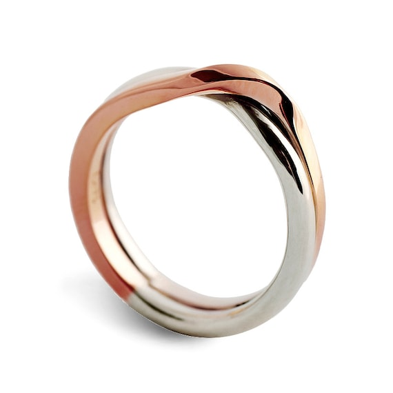 Memorial Day SALE LOVE KNOT White and Rose gold wedding band