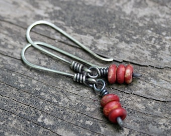 Burnt red bone earrings / sterling silver dangle earrings / gift for her / jewelry sale / boho earrings / red earrings / tiny dangles