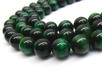 Green Tiger Eye, 10mm Beads, 12mm Beads, 14mm Beads, Tiger Eye, Tiger Eye Beads, Green Beads, 8mm Beads, Healing Stones, Natural Gemstones