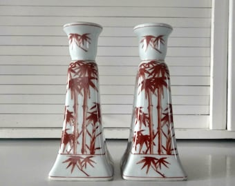 Vintage Ceramic Candle Sticks Holders Bamboo Boho Bohemian Style Home Decor Large White Orange Plant Lovers Gift Tabletop