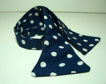 Freestyle Bow Tie for Men Navy and White Dots
