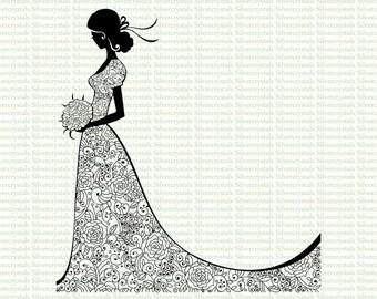 Bride Digital Stamp Wedding Filigree Digi Lineart Princess Black and White Digital Clip Art Clipart Set Holding Bouquet JPEG PNG