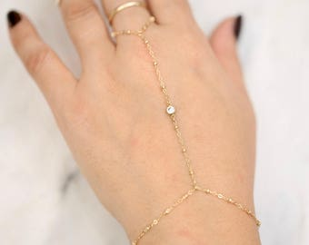 Gold Slave Bracelet with CZ • Hand Chain Bracelet • Delicate Gold Filled Bracelet •  Chain Bracelet with Cubic Zirconia •Hand Chain Bracelet
