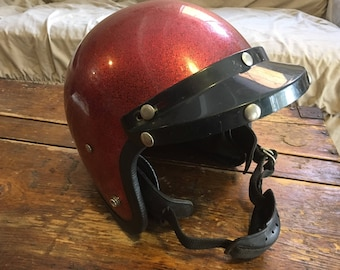 Vintage Buco Style Red Sparkle Motorcycle Helmet with Visor, 1960s/1970s