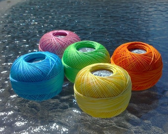 FULL SPOOLS - Lizbeth Tatting Thread - Summer Delight - 5 Bright Colors - 1500 Yards - Size 40 (#145, 679, 170, 658 and 183)