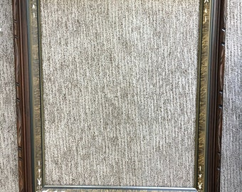 Large Vintage Antique Carved Walnut Frame with A Faux Wood Grain & Engraved Insert-Gold Trim