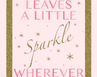 Pink and Gold Sparkle Sign
