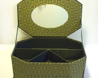 Jewelry Box With A Mirror,fabric covered box, cartonnage, treasure box, keepsake, item storage,