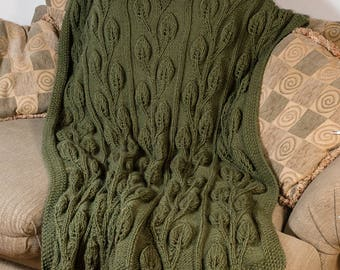 Hand Knit Alpaca Blanket, Afghan, Throw, Olive Green, Cable Knit, Alpaca, Wool - 230