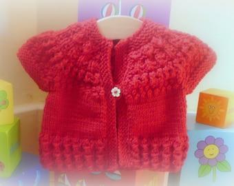 Knitting PATTERN Seamless Top Down Baby Girl CARDIGAN Jacket Sweater -  Ruby a top down seamless yoked cardigan