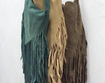 Suede Tassel Bag, Brown Suede Fringe Bag, Suede Tassel Bag, Natural Leather Fringe Bag, Brown Cross Body or Shoulder Bag