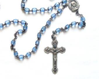 Vintage Rosary, Blue Rhinestone Rosary, Early Vintage Blue Italy Rosary, Vintage Rosary, Religious Item from NewYorkMarketplace Etsy