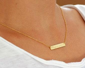 Custom Bar Necklace, Engraved Bar Necklace, Name Bar Necklace, Personalized Bar Necklace, Gold Bar Necklace, Custom Quote Necklace, SN0297