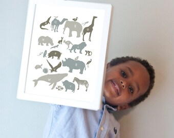 Alphabet Animals Print in Neutrals