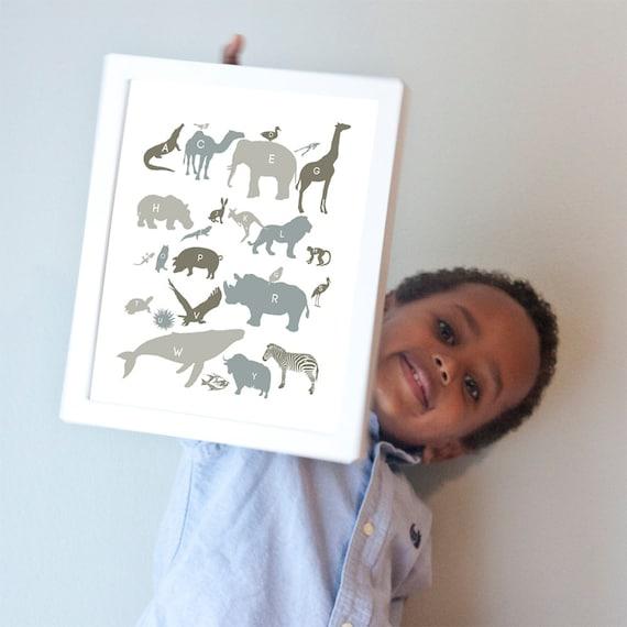 Alphabet Animals Print in Neutrals