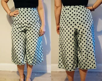 Handmade High Waisted Vintage Style Turquoise with Navy Polkadot Culottes
