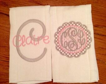 Monogram Baby Girl Burp cloth Set/Pink and gra/Polka Dots/Baby Girl Shower gift/Monogramed burp cloths