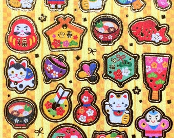 New Year Stickers - Japanese Washi Stickers - Traditional Japanese Stickers -  New Year Symbols Stickers S81