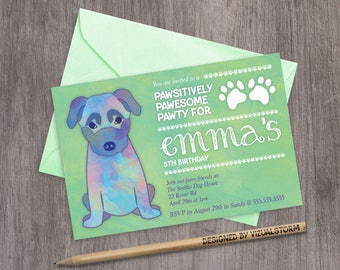 Shepherd Puppy Birthday Invitation Printable Puppy Party Invite Digital Green Watercolor Dog Party Invitation German Shepherd Puppy Pawty