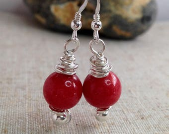 Sterling Silver gemstone earrings, Red Mountain Jade earrings, Handmade twisted Silver earrings, Red Jewellery, Gift for Her