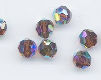 Twelve rare Swarovski crystals: art 5000 - 8 mm - smoked topaz AB 2X