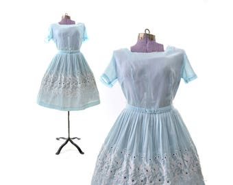1950s Dress, Vintage Dress, 50s dress, blue dress, baby blue dress, eyelet lace dress, easter dress, womens dress, vintage clothing