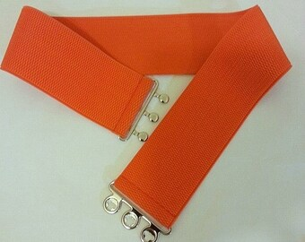 "Orange Belt, Wide Elastic Belt, Orange stretch belt, women belt, Orange Elastic Belt 3"" Wide"