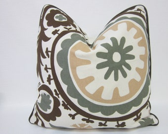 Clearance - 1 Brown Suzani Designer Pillow Cover. Brown Pillow Cover, Premier Prints Pillow Cover, Designer Pillow Cover