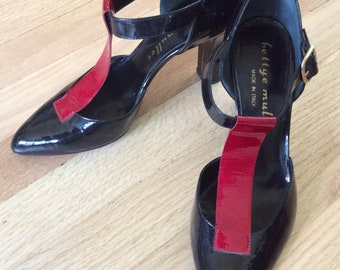 Patent Leather T-strap Bettye Muller Heels: Made in Italy size- 7 1/2