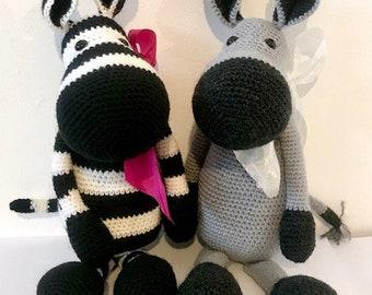 Crochet pattern Zena Zebra and Douglas Donkey super cute
