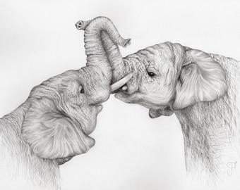 Framed 'Elephant Embrace' Print