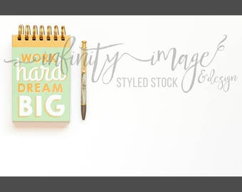 White Horizontal Styled Stock Product Photography Background w/Green & Brown Notebook, Journal, Pen, Stapler / High Res File #INF110SS