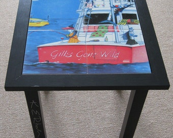 Gills Gone Wild pink party boat Tile Wooden end table signed by artist Ladies sportfishing