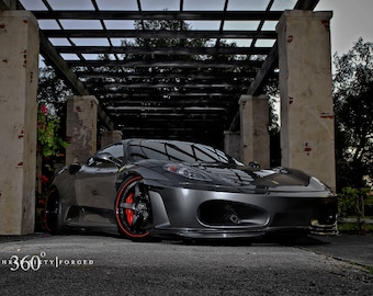 Ferrari F430 430 Right Front Gray 2 On 360 Forged Wheels HD Poster Print