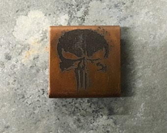 Engraved Copper Molle Clip - Skull 01