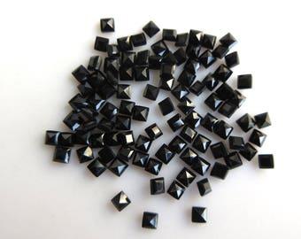 50 Pieces Tiny Black Onyx Cabochons, Calibrated Princess Cabochons, Loose Cabochons, 2.5mm Each, SKU-B20