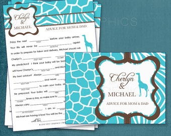 Safari. Baby Wishes. Baby Stats. MadLibs.  Printable Cards, any Colors. By Tipsy Graphics