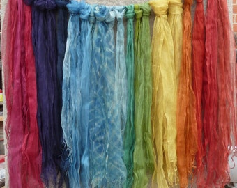 Naturally dyed 100% silk organza scarves - rainbow colours, ethically sourced