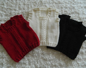 EXPRESS SHIPPING!! Knit Baby Boy Girl Toddler Dark Red Ecru Black Tank Top Vest Sleevles Sweater Cable Bamboo Acrylic  Yarn Wooden Buttons