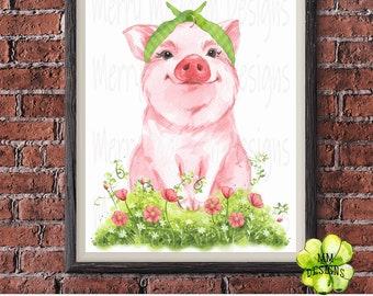 Watercolor Pig Clipart,Pig PNG Digital Files,Pig in Bandana Pig SVG, Sublimation Design Downloads, Instant Download,Heat transfer for shirts