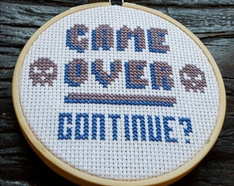 Game Over PDF Cross Stitch Pattern / 8-bit Retro Gaming