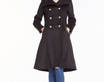 Irregular Double Breasted Long Wool Jacket High Collar Winter Coat