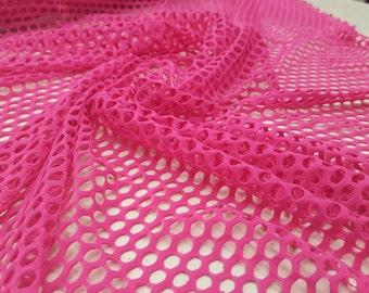 """Fishnet Nylon Spandex 60"""" Pink / sold by yard"""