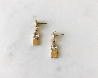 Dead Stock Vintage Gold Delicate Small Rectangle Circle Rhinestone End Drop Dangle Earrings