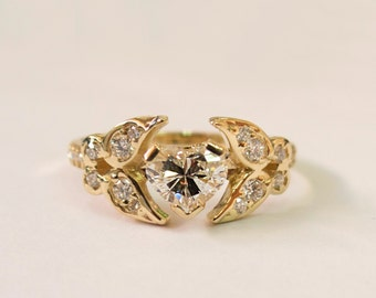 Heart Diamond Ring Unique Engagement Ring 14K 18K Solid