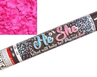 "12"" Pink Girl Gender Reveal Confetti Cannon | Gender Reveal Smoke Alternative | Party Popper | Confetti Balloon Alternative | Pop See"