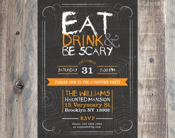 Adult Halloween Party Invitation, Printable PDF or Jpeg