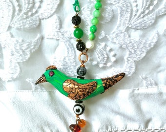 Green bird pendant Mr Malachite crystal healing totems copper wings rustic boho jewellery special unique