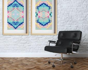 Pair of abstract wall art prints, navy blue wall art, pink, aqua, mint, modern home decor, abstract wall decor, matching set of two prints.